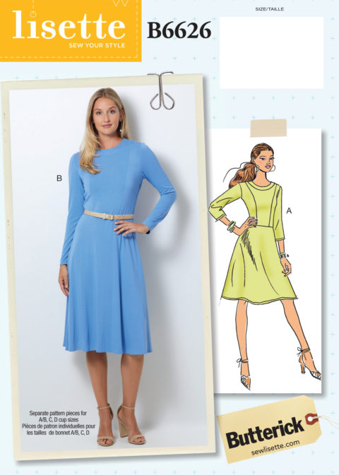 Lisette for Butterick B6626 knit dress sewing pattern