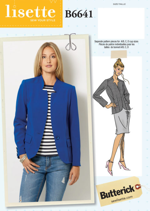 Lisette for Butterick B6641 blazer sewing pattern